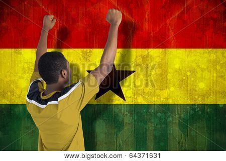 Cheering football fan in yellow jersey against ghana flag in grunge effect