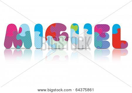 MIGUEL written with alphabet puzzle - vector illustration