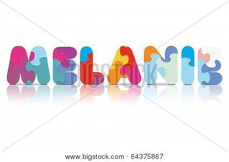MELANIE written with alphabet puzzle - vector illustration