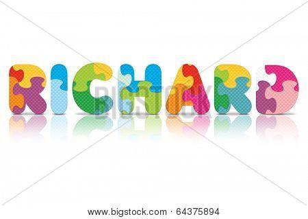 RICHARD written with alphabet puzzle - vector illustration
