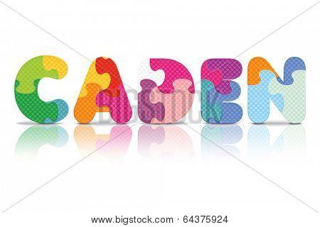 CADEN written with alphabet puzzle - vector illustration