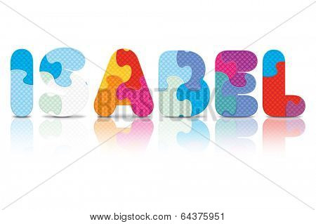 ISABEL written with alphabet puzzle - vector illustration