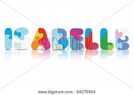ISABELLE written with alphabet puzzle - vector illustration