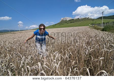 Young Woman In Wheat Field, Back Is Spis Castle