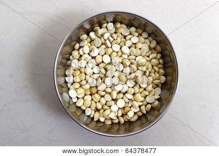 closeup of dry roasted chana or whole black gram or chickpea