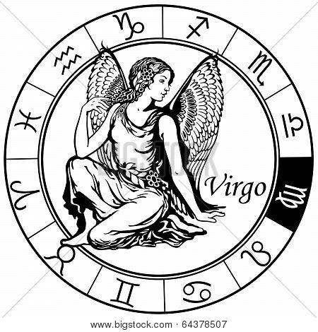 Virgo Zodiac Black White