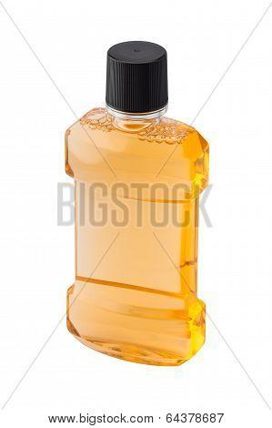 Plastic Bottle Of Mint Orange Mouthwash Isolated On White Background