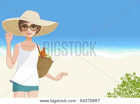 Cute Young Woman In Straw Wide Brimmed Hat Smiling  At Beach