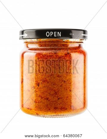 Massaman Curry Paste In Glass Jar Isolated On White Background