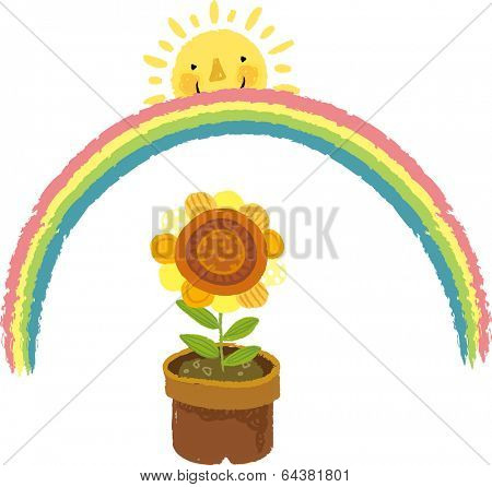 The view of flowerpot with rainbow