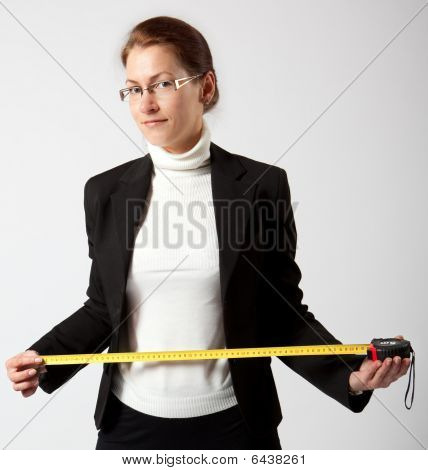 Business Woman With Tape-measure