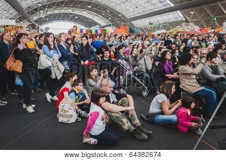 People Visiting Orient Festival In Milan, Italy