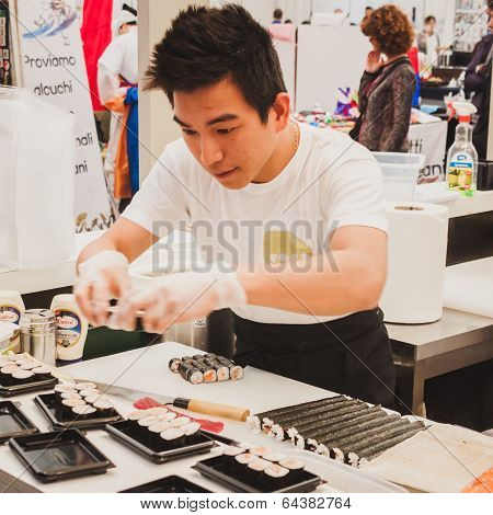 Sushi Rolls Preparation At Orient Festival In Milan, Italy