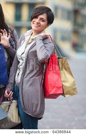 Happy Girls Doing Shopping