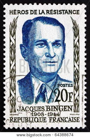 Postage Stamp France 1958 Jacques Bingen, Hero