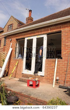 Fitting new plastic windows and doors