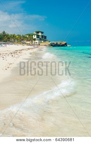 Vertical view of the beautiful Varadero beach in Cuba