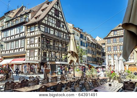STRASBOURG, FRANCE - APRIL 16: STREET IN THE CITY  CENTER. Strasbourg's historic center APRIL 16, 2014 2014 Strasbourg is the most popular tourist destination in France.