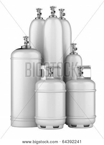 White Cylinders With Compressed Gas