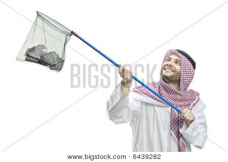 An Arab person with a fishing net
