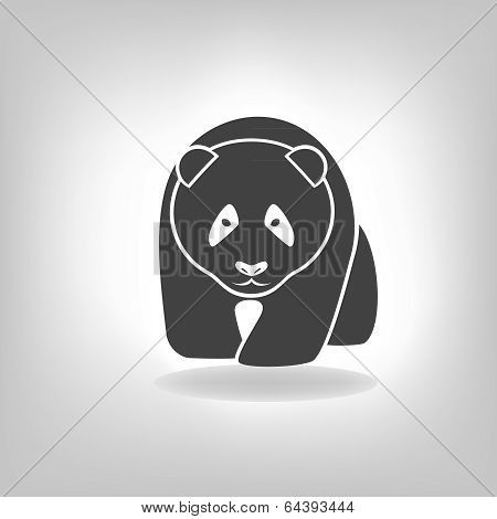 Panda Grey Label - Vector Illustration
