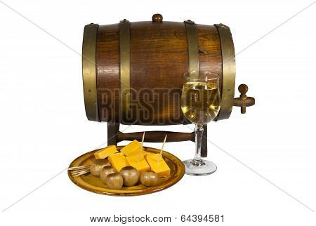 Cask With Glass Of Wine Pickled Onions And Cheese