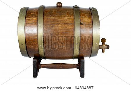 Wooden Stand Supporting Oak Wine Cask With Brass Hoops