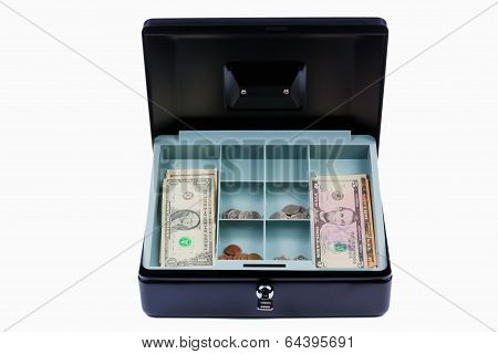 Black Steel Cash Box. Isolated
