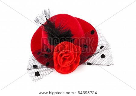Red Hat With Black Plume And Rose