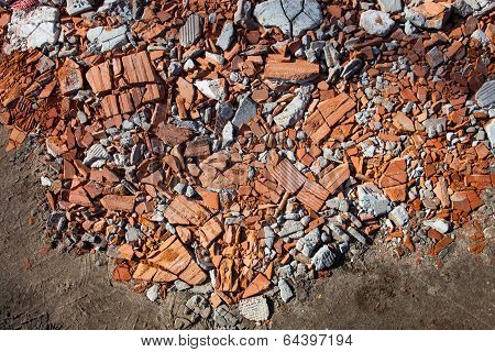 Pieces Of Beaten Bricks And Concrete Blocks