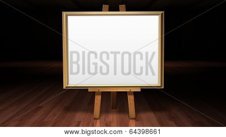 Art Easel  In A Darkened Gallery