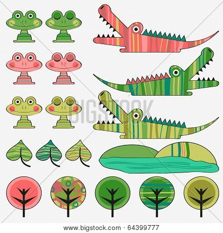 Frog And Crocodile Cute Childish Set