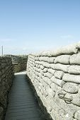 stock photo of sandbag  - Trenches of death world war one sandbags in Belgium - JPG