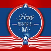 image of happy day  - Happy Memorial day symbol with flag red background - JPG
