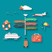 foto of passenger ship  - Icons set of traveling planning a summer vacation tourism and journey objects and passenger luggage in flat design - JPG