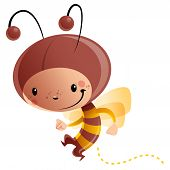 stock photo of bee cartoon  - Cartoon vector illustration with cheerful smiling child in funny yellow and brown butterfly suit with antennas and wings - JPG