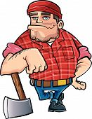 picture of arborist  - Cartoon lumberjack holding an axe - JPG