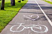 Постер, плакат: Bicycle Way In Park