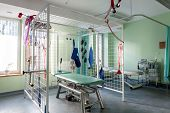 stock photo of suspension  - Rehabilitation room with table for therapy in suspension - JPG