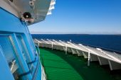 stock photo of cruise ship  - Bright summer view of empty cruise liner deck - JPG