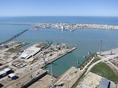 foto of shipbuilding  - aerial view of Cadiz and Puerto Real shipyard - JPG