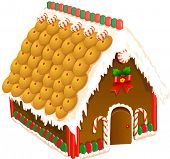 stock photo of gingerbread house  - Vector illustration of a gingerbread house - JPG