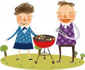 pic of spit-roast  - The view of couple roasted the meat on a spit by the barbecue grill - JPG