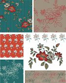 stock photo of taupe  - Teal Floral Seamless Patterns and Icons - JPG