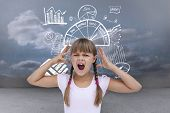 stock photo of average looking  - Crazy little girl against clouds in a room - JPG