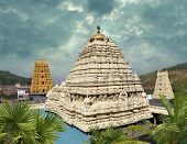 stock photo of swami  - Hindu Narasimha temple located in the Visakhapatnam City suburb of Simhachalam in Andhra Pradesh South India - JPG