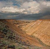 stock photo of plateau  - desert slopes of the plateau Ustiurt - JPG