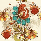 foto of swirly  - Vintage vector seamless with swirls and hand drawn flowers - JPG