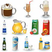 stock photo of milk glass  - Color vector illustration of different non - JPG