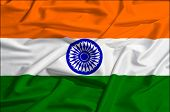 stock photo of indian flag  - India flag on a silk drape waving - JPG